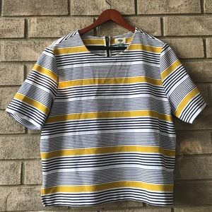 Navy yellow striped formal old navy top